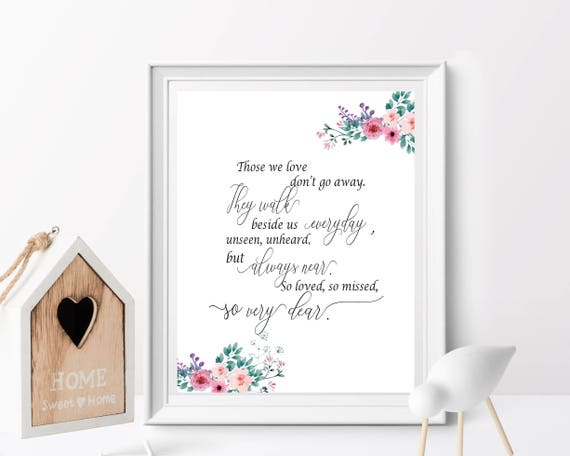 Those We Love Dont Go Away Wedding Quote Printable Etsy