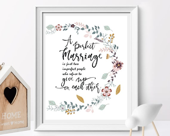 A Perfect Marriage Wedding Gift Love Quote Wedding Decor Etsy