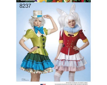 Simplicity 8237 Disney Alice in Wonderland Mad Hatter and White Rabbit Misses Costumes Sizes 14-22