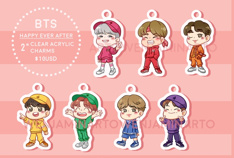 BTS 4th Muster: Happy Ever After Clear Acrylic Glitter Charms