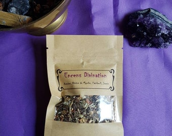 Divination incense / mix of plants, divination, incense for coal, wicca, natural magic, Tarot, dowsing, runes