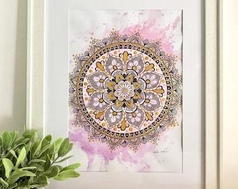 Gold & Pink Mandala Print - A3