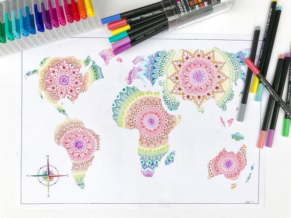 Rainbow Mandala World Map Print A4 Etsy