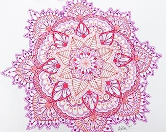 Pink Mandala Print - A4, A3 AND A2