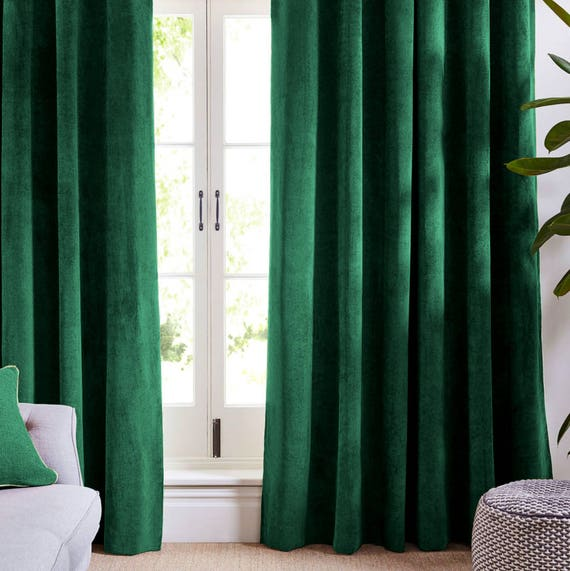 Forest Green Velvet Curtains And Drapes Greenish Curtains