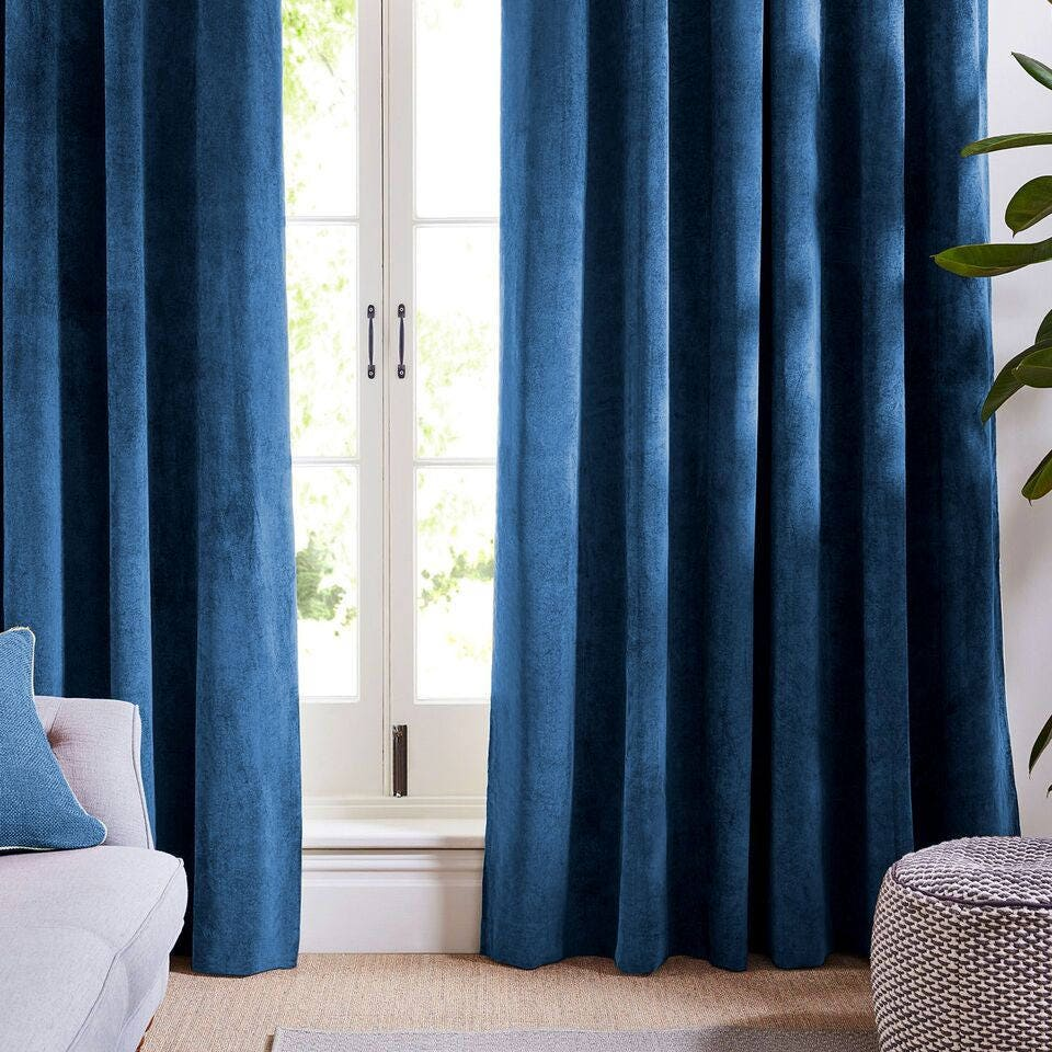 Indigo Blue Velvet Curtains And Drapes Dark Curtains