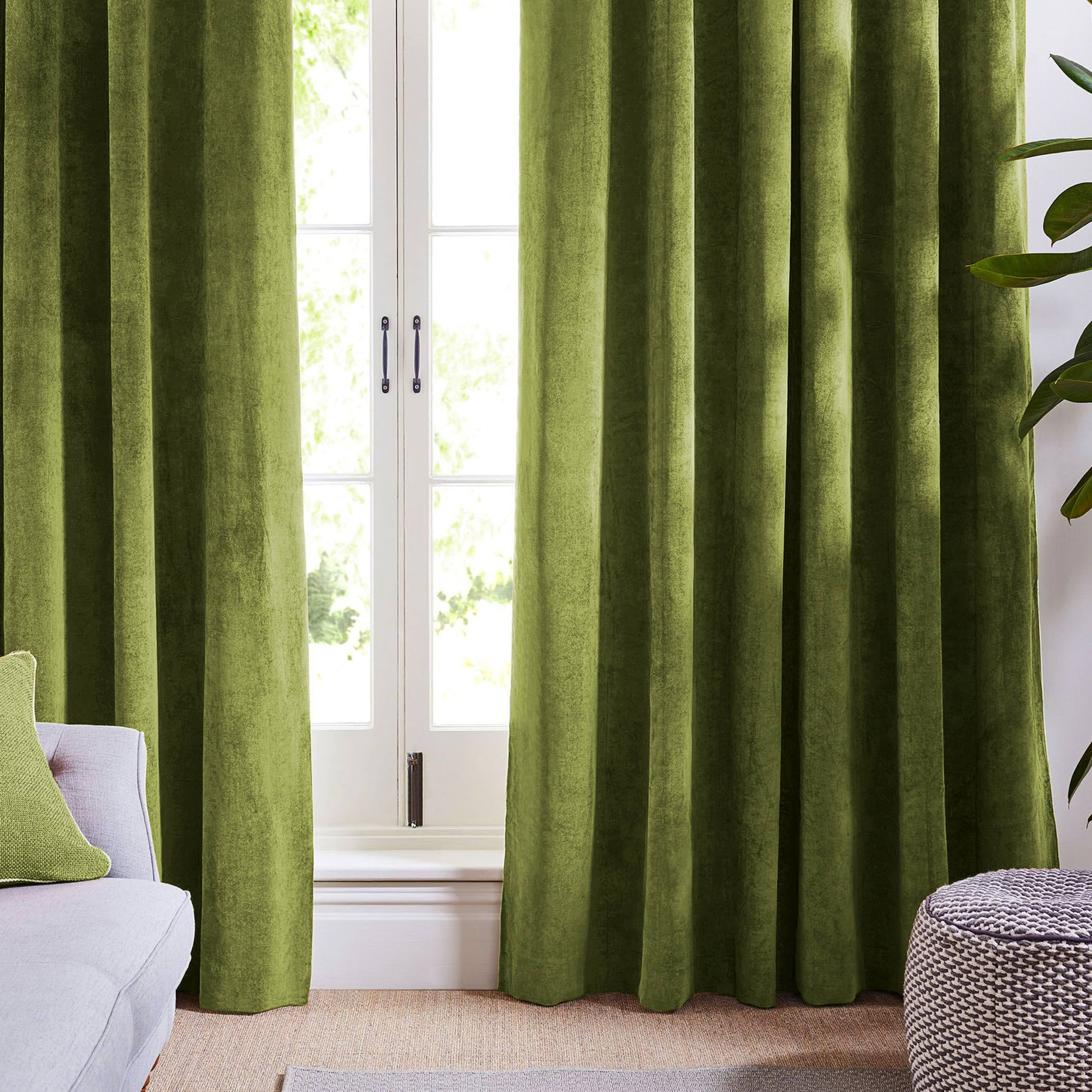 Olive Light Green Curtains Velvet Drapes Custom Blackout