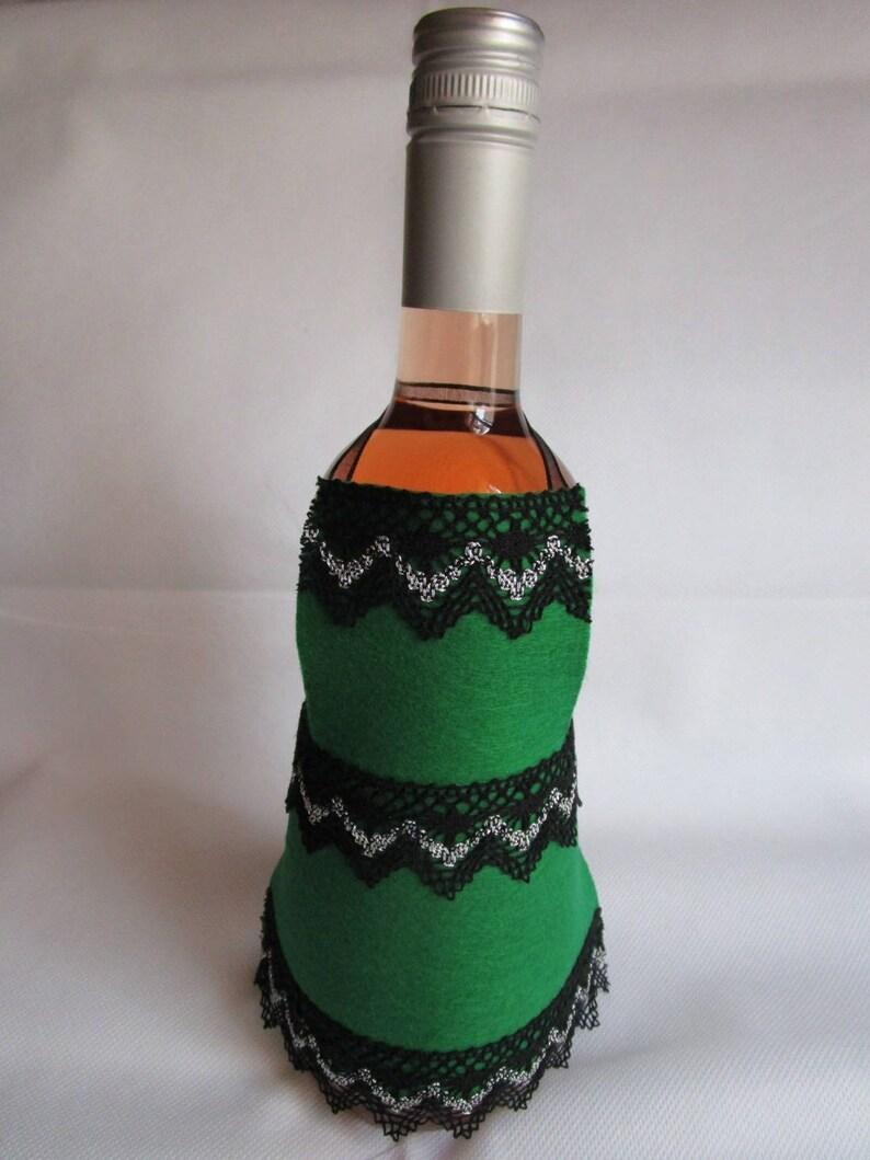 Green felt bottle apron