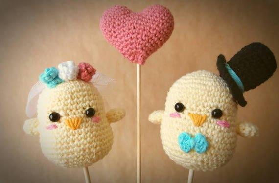 Cake Topper Crochet Wedding Favor Amigurumi Hand Made Etsy
