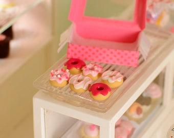 Miniature Box of Pink Donuts, Miniature Donuts, Miniature Doughnuts, 1:12 scale, Dollhouse donuts, Dollhouse food, miniature food