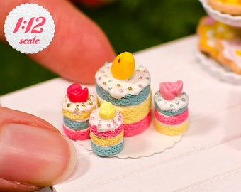 1//12th scale DOLLS HOUSE CAKES C21 3 X HANDMADE ASSORTED CAKES