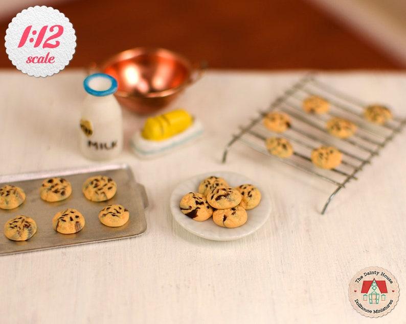 Dollhouse Miniature 1:12 Artisan Chocolate Creme Cookies and Milk