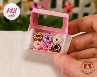 Miniature Box of Donuts - Colorful Mix, 1:12 Scale Doughnuts, 1/12 Scale Donuts, Mini Dollhouse Desserts