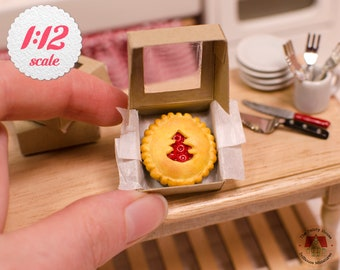 1:12 Miniature Cherry Pie w/ Tree Cut-out, Miniature Christmas Pie for One Inch Scale Dollhouse