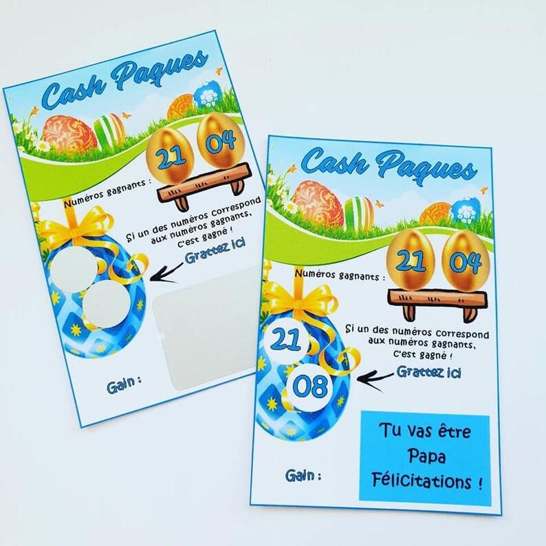 Annoncer sa grossesse à Pâques à l'aide de carte à gratter Cash Pâques | A découvrir sur le blog : babyshowercreative.com