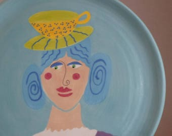 Whimsical TEACUP HAT lady plate hand painted ceramic