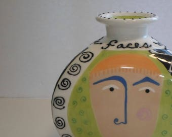 Whimsical Hand Painted Ceramic Face Vase