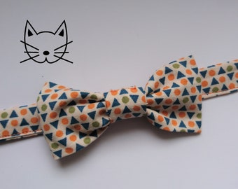 """Bow tie for cat or kitten triangle beige orange and blue cotton - """"Scandinave"""" Collection"""