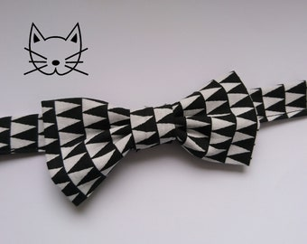 "Bow tie for cat or kitten printed black and white triangle cotton horizontal - Collection ""In Black"""