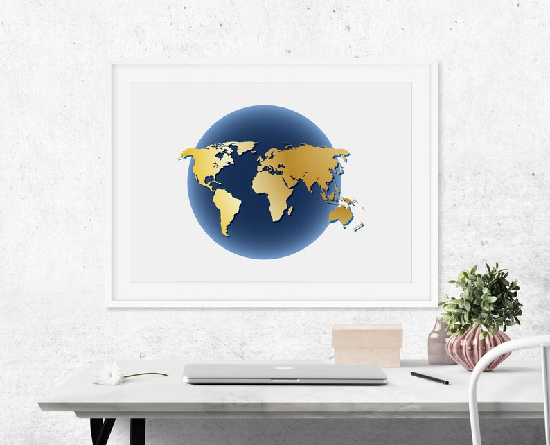 World Map Wall Art Cubicle Decor World Map Poster Poster image 0