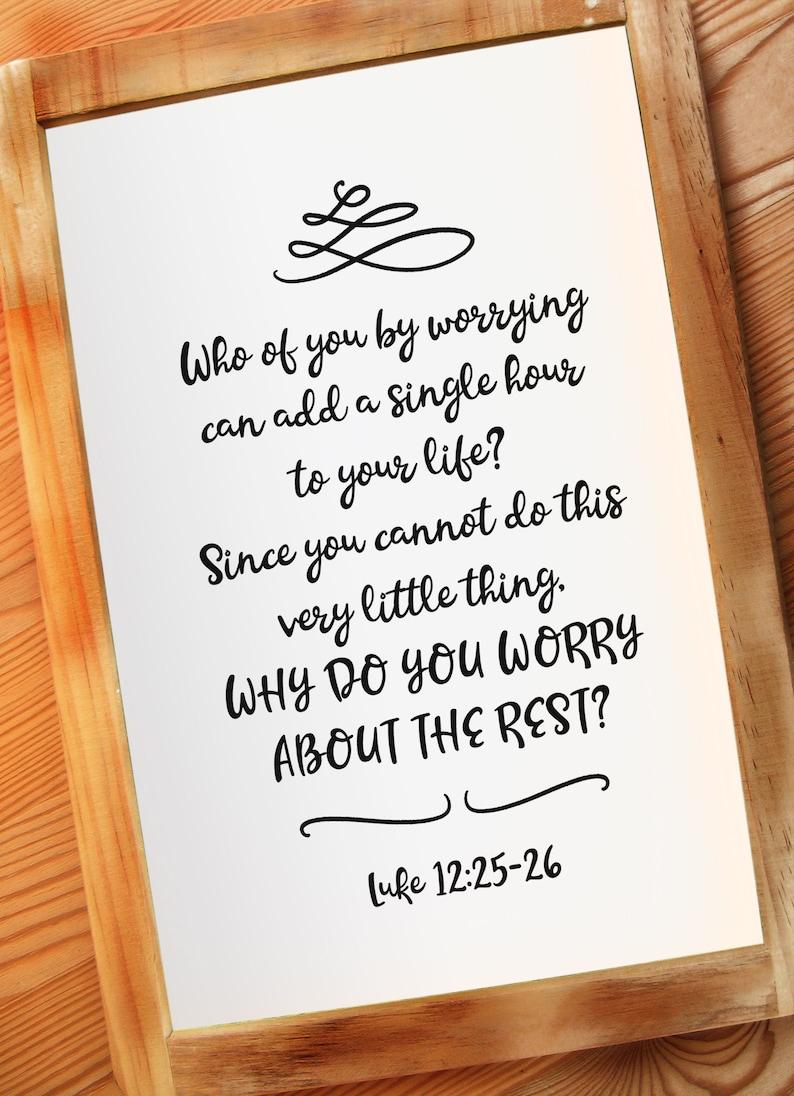 Bible Verse Luke 12:25-26 Printable Wall Decor God's Word image 0