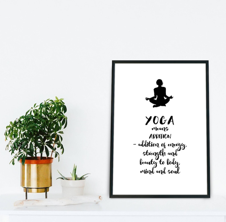 Yoga Meaning Quote Yoga wall art Yoga poster Printable yoga image 0
