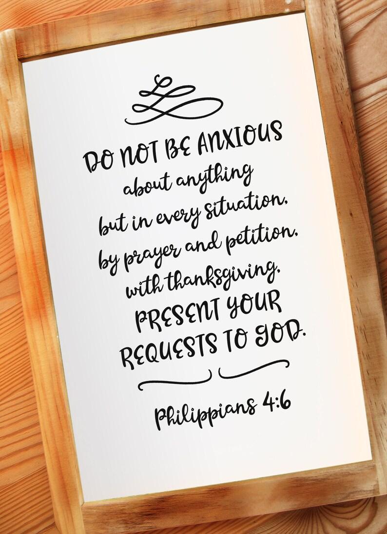 Philippians 4:6 Bible Verse Printable Wall Decor Word of God image 0
