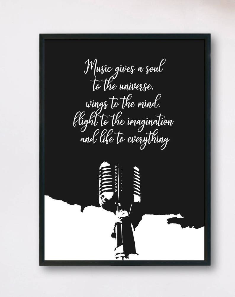 Quote about Music Music art print Gift for Musician Musician print Gift for music lover Music wall art Microphone Print Instant Print