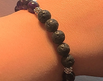 Amethyst, Natural Stone Bracelet. Lava Stone, Natural Dark Amethyst, Grade A Quality, 8mm Natural Stone Beads, Essential Oil Diffuser.