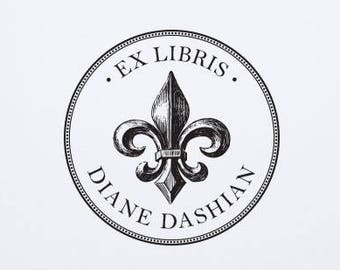 Pesonalized Ex Libris Stamp Custom Fleur De Lis Book Libray Teacher Classroom