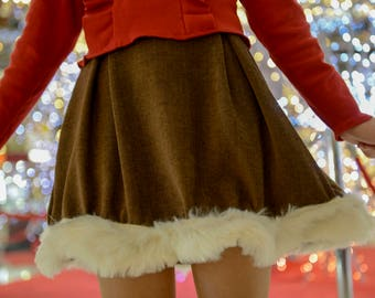 Teary Rudolph brown corduroy skirt