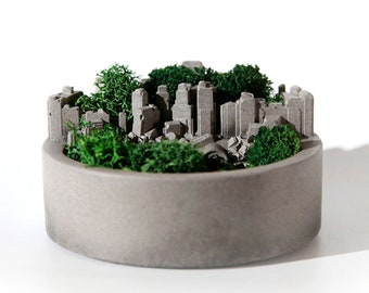 Concrete City Miniature For Small Plant / Home / Office / Decoration Gift  Easy Arrangement Industrial Green Style
