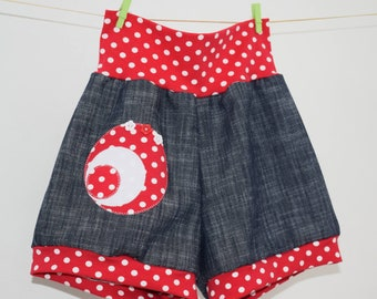 Girl Short Pants Shorts For Girl Outfit Girls Clothes Flowers Red Dots Rovanova Handmade Unique