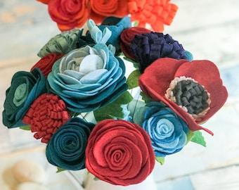 Felt Flowers, Felt Flower Decor, Forever Flowers, Flower Posy, Home Decor, Mother's Day Flowers, Gift for Mum, Gift for Her, Housewarming