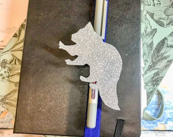Raccoon, Journal Pen Holder, Planner idea, Raccoon Lover Gift, Pen Loop, Best Friend Gift, Gift for Her, Back to School, Birthday Gift