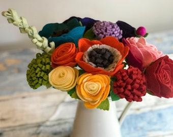 Rainbow Felt Flowers, Felt Flower Decor, Forever Flowers, Flower Posy, Home Decor, Mother's Day Flowers, Gift for Her, Housewarming