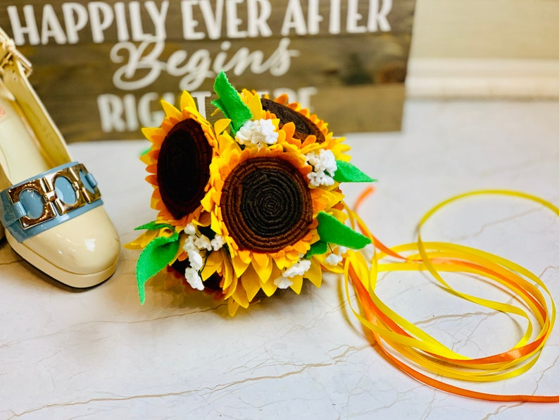 Simple Sunflower Wedding Bouquet