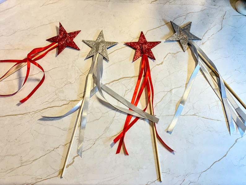 Perfect as Costume Accessory or Flower Girl Wand Simple Glitter Star Fairy Wand