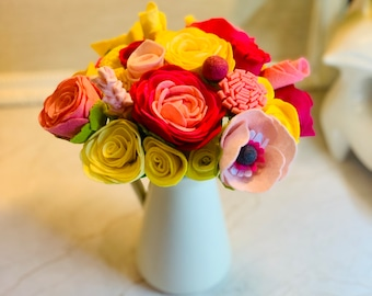 Large Bunch of Multicoloured Felt Flowers