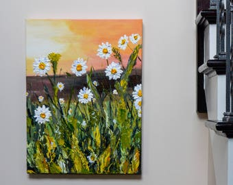A Daisy Sunrise - Medium Size Acrylic Painting, Deep Texture, Original Piece