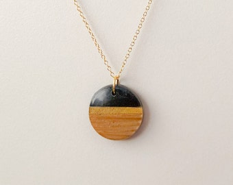 Wood Resin Pendant on gold filled chain