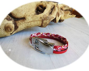 Bracelet double red leather and silver clip