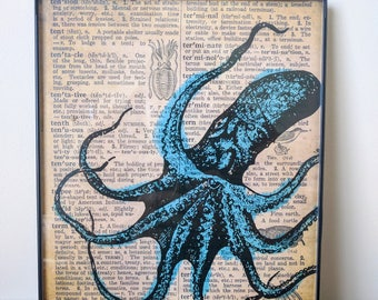 Printable Vintage Dictionary Octopus Art