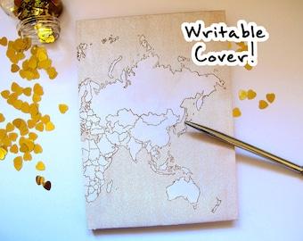 Writable World Map Travel Notebook