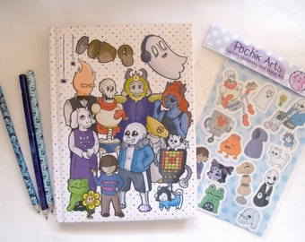 Undertale Stationery Bundle  - 20% DISCOUNT vs UNBUNDLED // Set, Pencil, Stickers, Gift, Sans, Sketchbook, Notebook, Merch, Papyrus