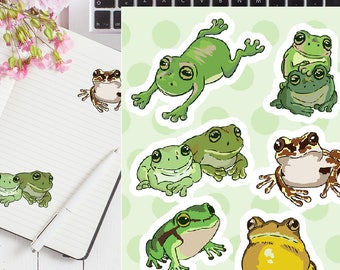 Frog Stickers // Sticker Sheet, Glossy Stickers, Animal, Nature, Planner, Scrapbook, Laptop, Stationery, Cute, Gift for Her, Kawaii