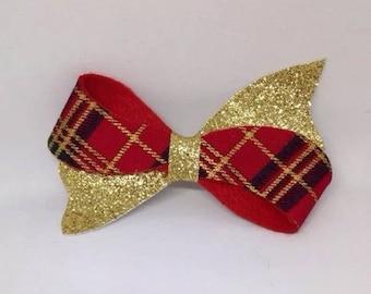 Red tartan & gold glitter hair bow clip 3 inches