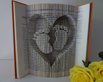 Heart and Baby feet folded book
