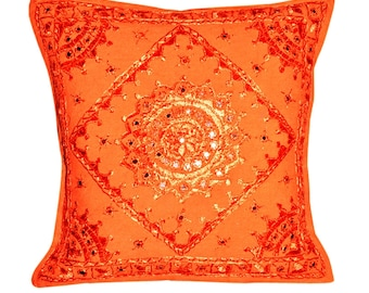 aaaad4aa45 Indian Handmade Embroidered Mirror work Decorative Pillow Cases cover  Bohemian Cushion Covers Sofa Pillows Case Throw Cover Set of Two Pcs