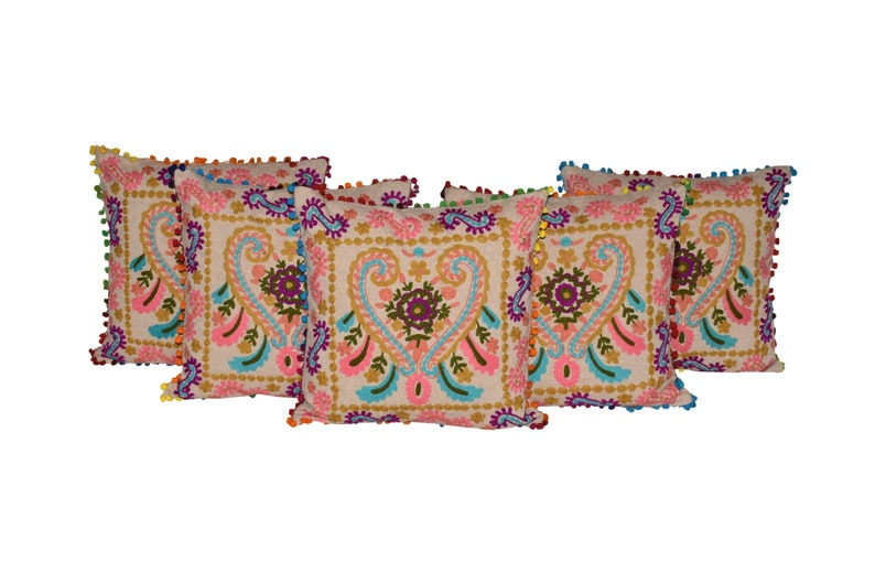 Embroidered Cushion Cover Indian Handmade Cotton Fabric Wool Cushion Covers Home Decorative Pillows Bohemian Sofa Bed Cushion Cover 16x16